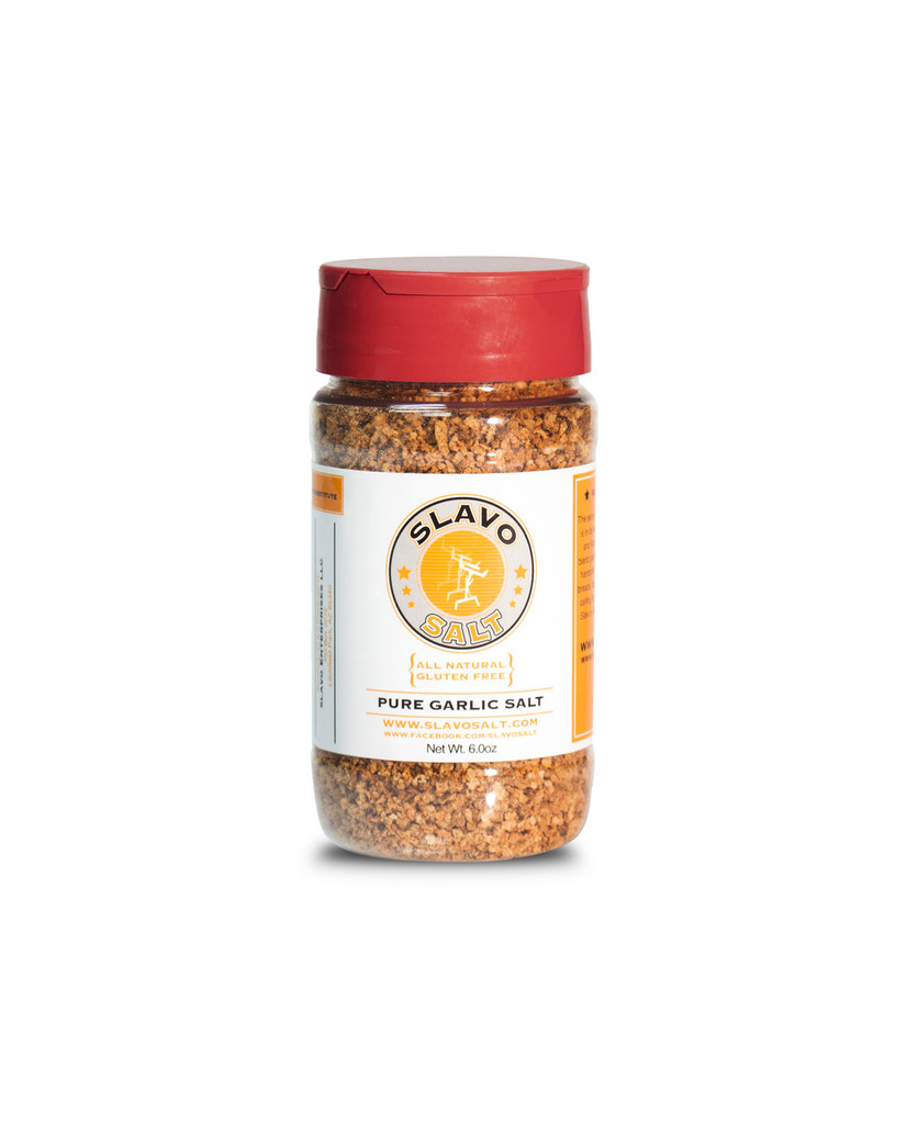 The secret to the magic of Slavo's Garlic Salt is in its simplicity.  Consisting of fresh garlic and Kosher Salt, this all-natural, artisan blend packs a powerful punch of flavor.   This handcrafted seasoning is perfect for garlic breads, burgers, salads, fries and any recipe calling for garlic and salt.  If you love garlic, Slavo's Garlic Salt is a must-have for your spice cabinet.  Ingredients: Fresh Garlic, Kosher Salt