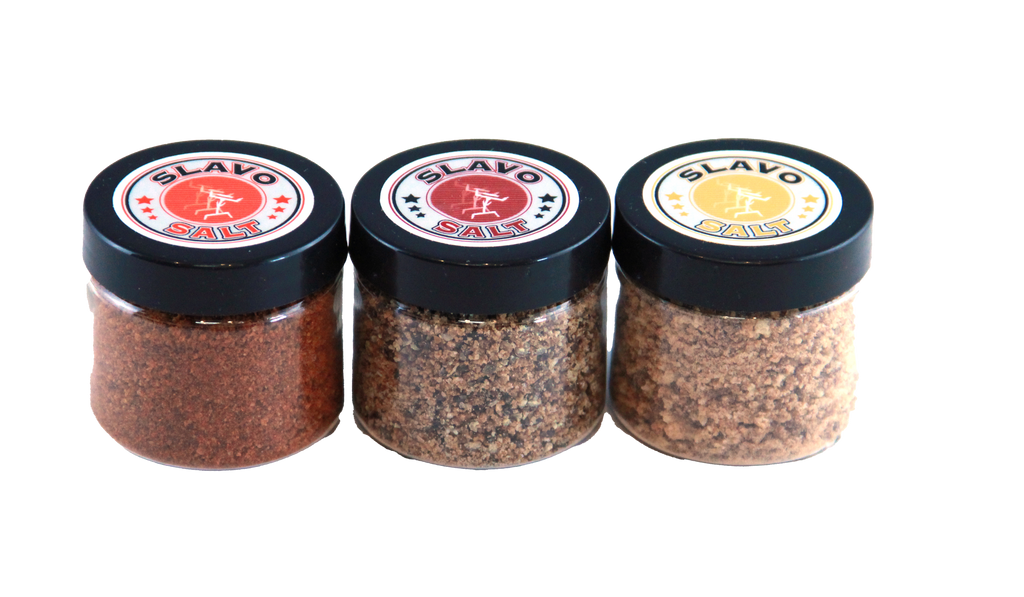 Are you afraid of commitment? Then the Slavo Sampler Set is for you. Three 1oz samples of our All Purpose, Pure Garlic and Spicy Seasonings are just enough to get you hooked.