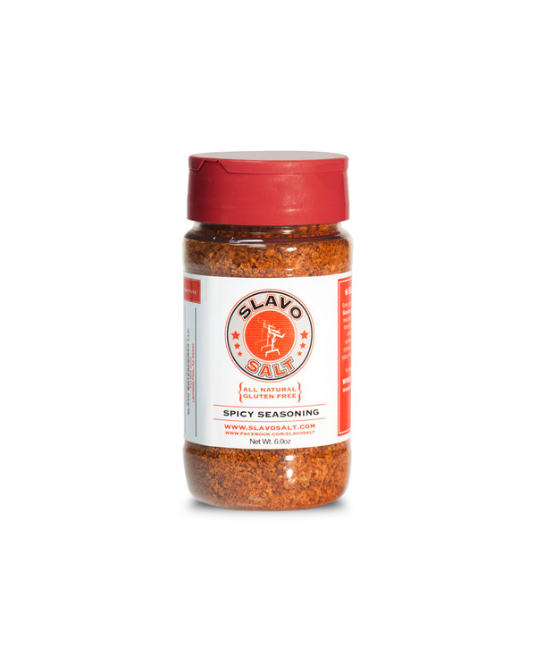 Just the right amount of heat without being overpowering. Made up of fresh garlic, kosher salt. cayenne, chipotle, smoked paprika and chilies, Slavo Salt Spicy Seasoning is a great addition to poultry, fish and veggies.