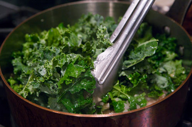 Slavo's Tuscan Kale with Pancetta and Caramelized Onions