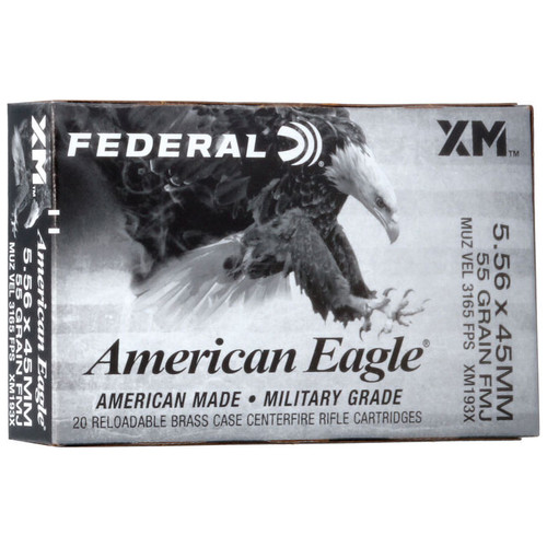 Federal American Eagle Rifle 5.56x45mm, 55 gr, FMJ-BT Ammunition
