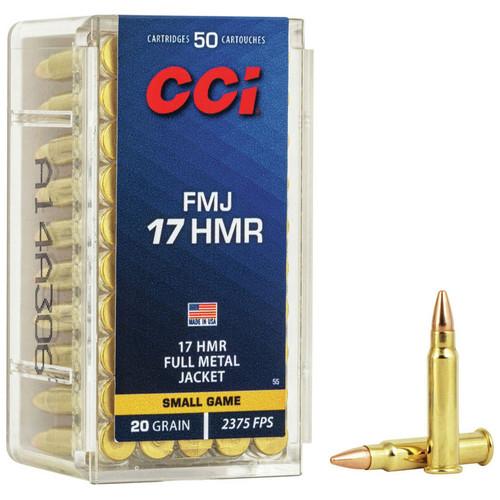CCI Full Metal Jacket 17 HMR, 20 gr, Full Metal Jacket Rimfire Ammunition