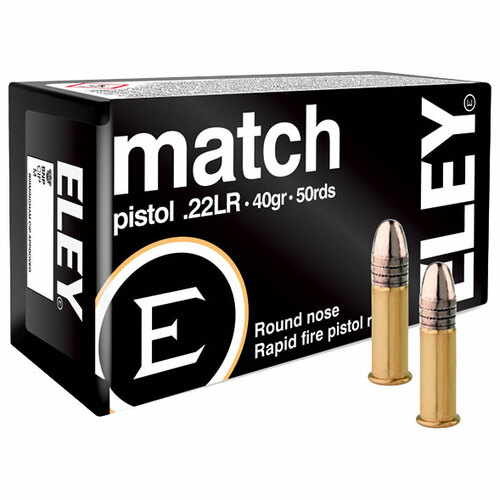 ELEY match pistol 22 LR, 40 gr, Round Nose Rimfire Ammunition