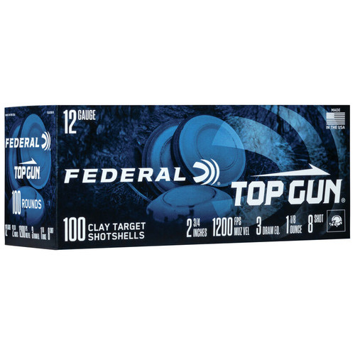 "Federal Top Gun 12 Gauge, 2-3/4"", #8, 1-1/8 oz Ammunition"