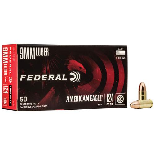 Federal American Eagle Handgun 9x19mm, 124 gr, FMJ Ammunition