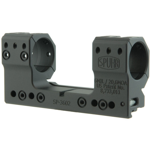 Spuhr SP-3602 ISMS Picatinny Scope Mount - 30mm Rings, 6 MIL / 20.6 MOA, 38mm Height, Screw Mount