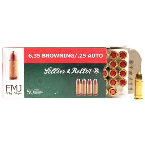 Sellier & Bellot Handgun 25 Auto (6.35mm Browning), 50 gr, FMJ Ammunition