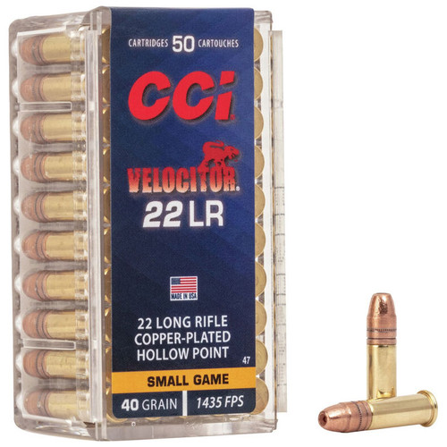 CCI Velocitor HP 22 LR, 40 gr, Copper Plated Hollow Point Rimfire Ammunition