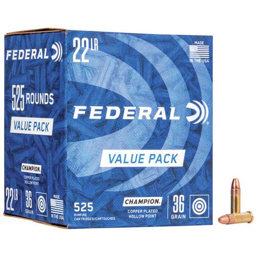 Federal Champion Training 22 LR, 36 gr, Copper Plated Hollow Point Rimfire Ammunition