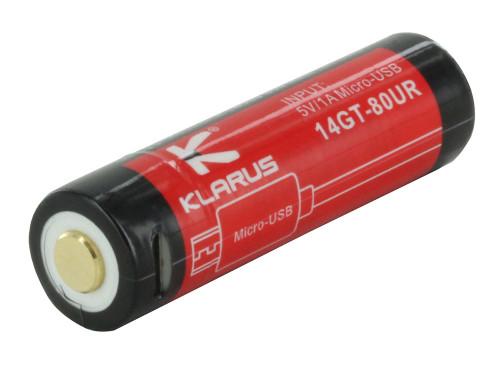 Klarus 14500-80UR - 14500 Li-ion Battery w/ Micro-USB Charging - 800mAh