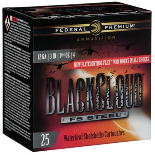 """Federal Black Cloud FS Steel, 12ga, 3"""", 1-1/4 oz, #4, Shotshell Ammunition (25 rds)"""