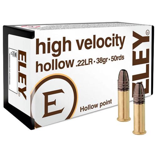 ELEY high velocity hollow 22 LR, 38 gr, Hollow Point Rimfire Ammunition