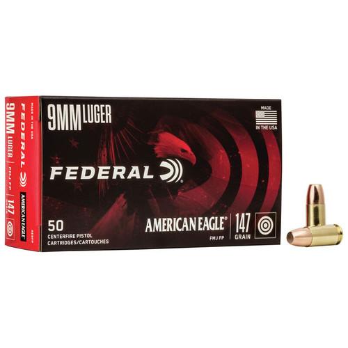 Federal American Eagle Handgun 9x19mm, 147 gr, FMJ Ammunition