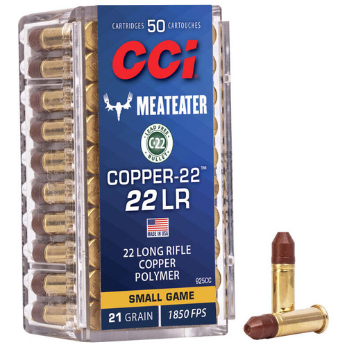 CCI Copper-22 22 LR, 21 gr, Copper HP Rimfire Ammunition