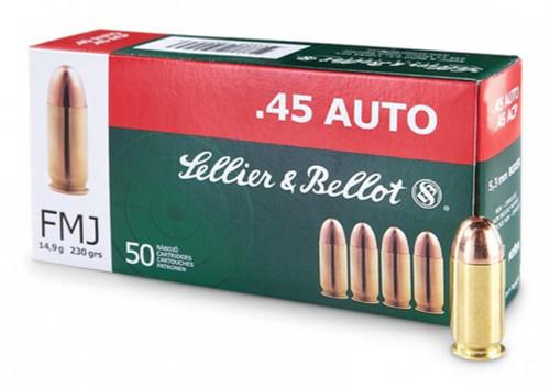 S&B Handgun Ammunition - 45 Auto, 230gr, FMJ, 1000 Rounds