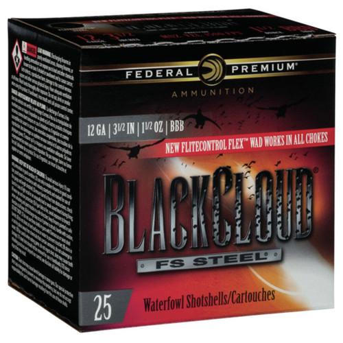 """Federal Black Cloud FS Steel, 12ga, 3-1/2"""", 1-1/2oz, BBB, Shotshell Ammunition (25 rds)"""
