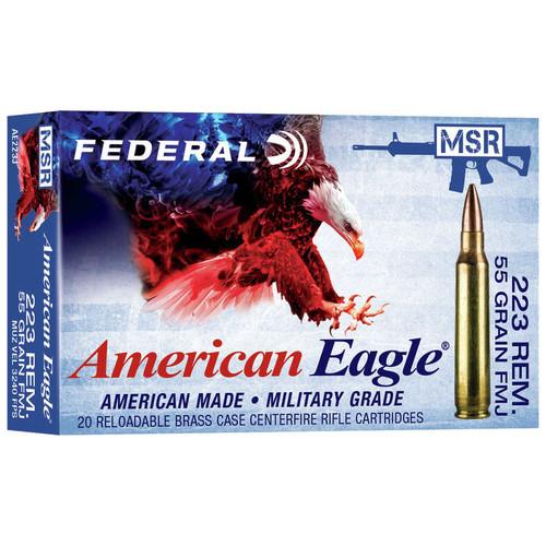 Federal American Eagle Rifle 223 Rem, 55 gr, FMJ-BT Ammunition