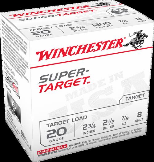 """Winchester Super Target Ammunition - 20 Gauge, 2-3/4"""", 7/8 oz, #8"""