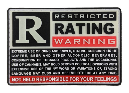"""TIC PVC Morale Patch - Restricted Rated Warning, 2""""x3"""""""