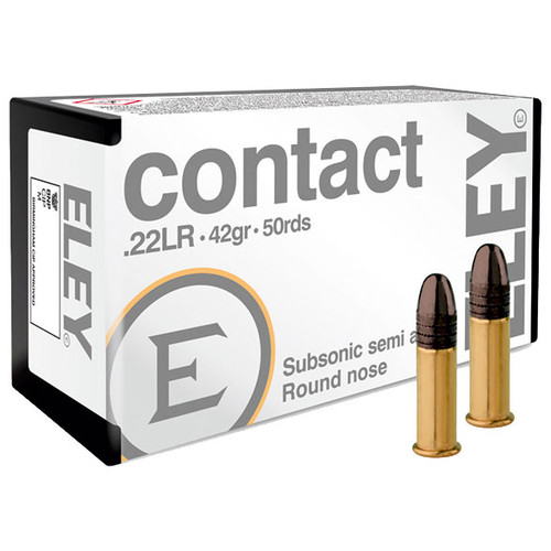 ELEY contact 22 LR, 42 gr, Round Nose Subsonic Rimfire Ammunition