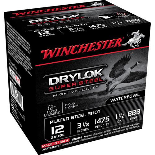 "Winchester DryLok Super Steel Ammunition - 12 Gauge, 3-1/2"", 1-1/2 oz, BBB"