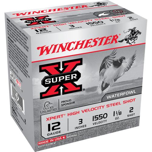 """Winchester Super X Xpert High Velocity Steel Shot Ammunition - 12 Gauge, 3"""", 1-1/8 oz, #2"""
