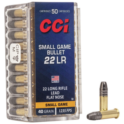 CCI Small Game Bullet 22 LR, 40 gr, Solid Rimfire Ammunition