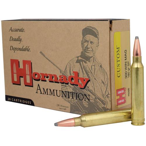 Hornady Custom 300 Win Mag, 180 gr, SP InterLock Ammunition