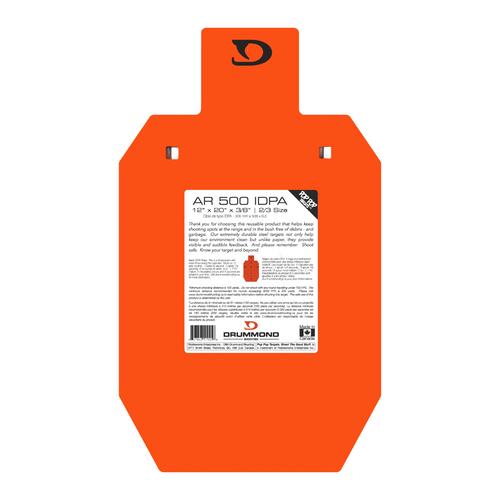 "Drummond AR500 Steel Target - 12""x20""x3/8"", 2/3 Size IDPA"