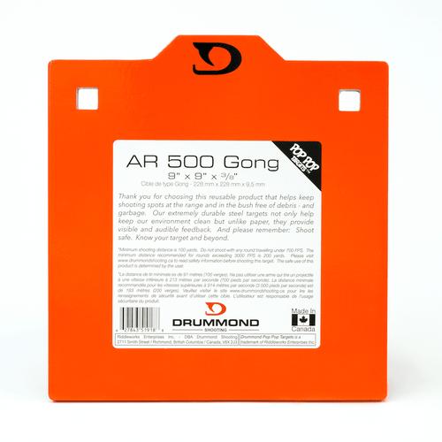 "Drummond AR500 Steel Target - 9""x9""x3/8"""