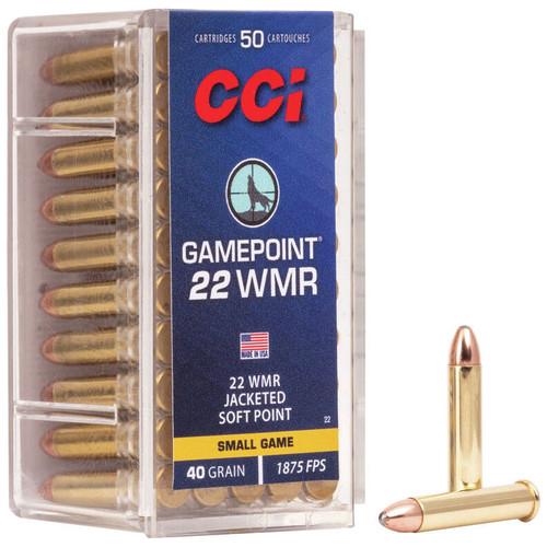 CCI Gamepoint 22 WMR, 40 gr, Jacketed Soft Point Rimfire Ammunition
