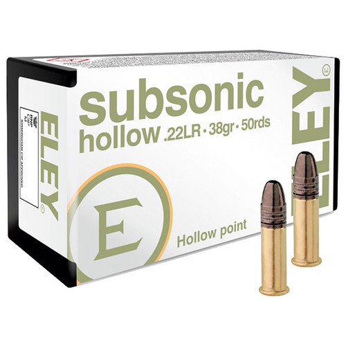 ELEY subsonic hollow 22 LR, 38 gr, Hollow Point Subsonic Rimfire Ammunition