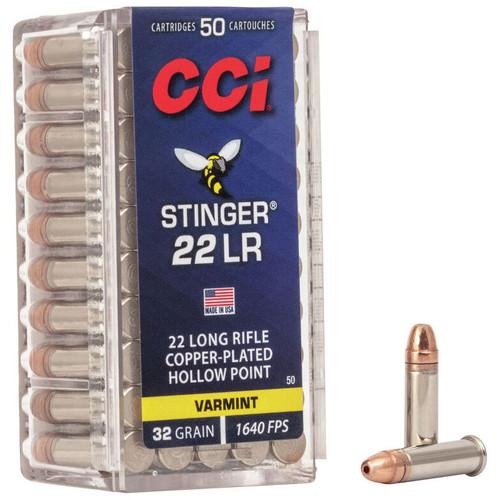 CCI Stinger 22 LR, 32 gr, Copper Plated Hollow Point, Rimfire Ammunition