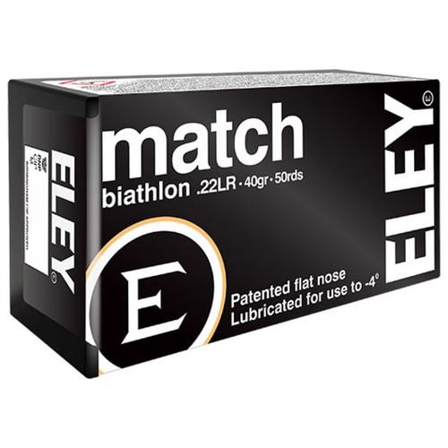 ELEY match biathlon 22 LR, 40 gr, Flat Nose Rimfire Ammunition