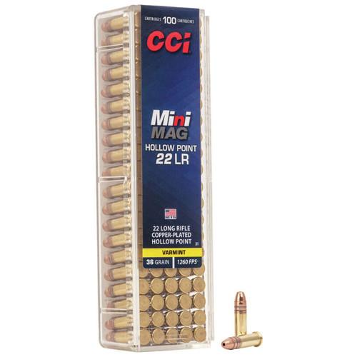 CCI Mini-Mag HP 22 LR, 36 gr, Copper Plated Hollow Point Rimfire Ammunition