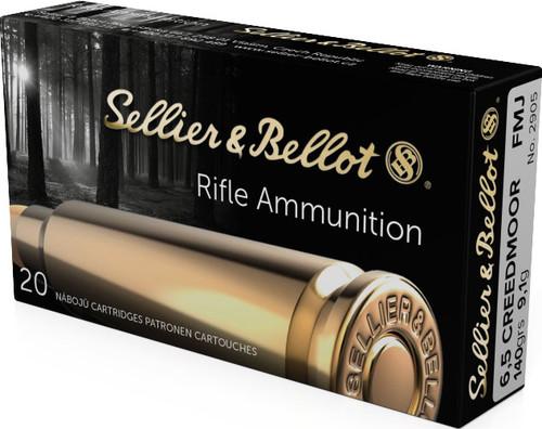 S&B Rifle Ammunition - 6.5 Creedmoor, 140 gr, FMJ-BT, 20 Rounds