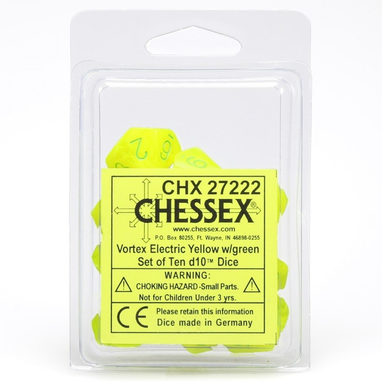 Chessex: Vortex Electric Yellow w/Green Set of 10 Dice (CHX27222)