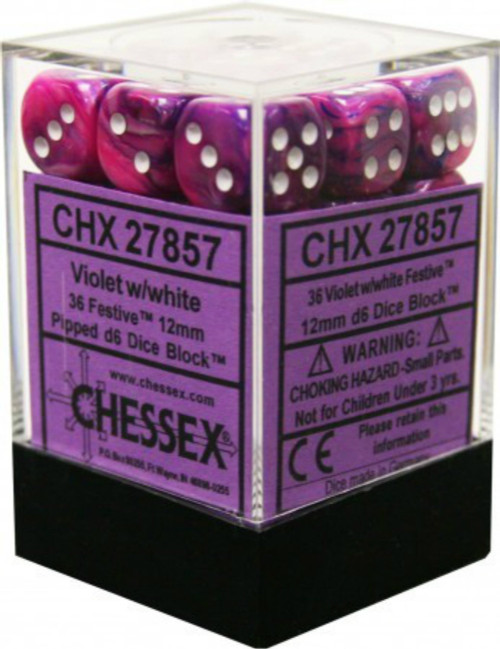 Chessex Festive Violet w/White Set of 36 d6 12mm Dice (CHX27857)