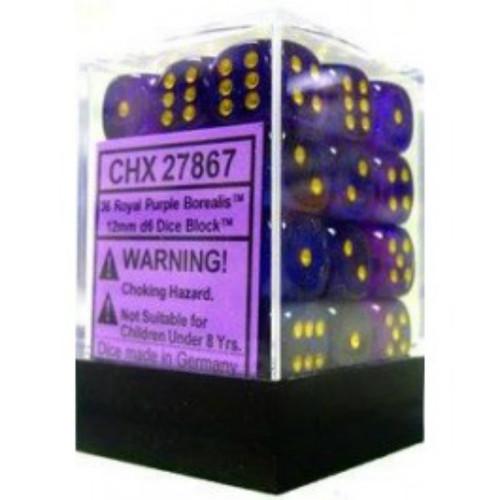 Chessex Borealis Royal Purple Set of 12 d6 16mm Dice (CHX27667)