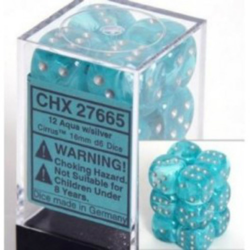 Chessex Cirrus Aqua w/Silver Set of 12 d6 16mm Dice (CHX27665)