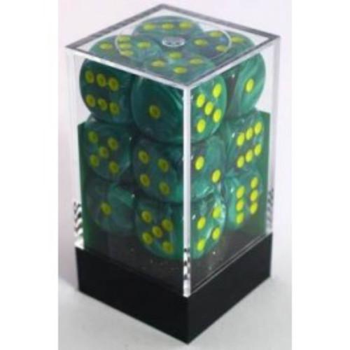 Chessex Vortex Malachite Green w/Yellow Set of 12 d6 16mm Dice (CHX27655)