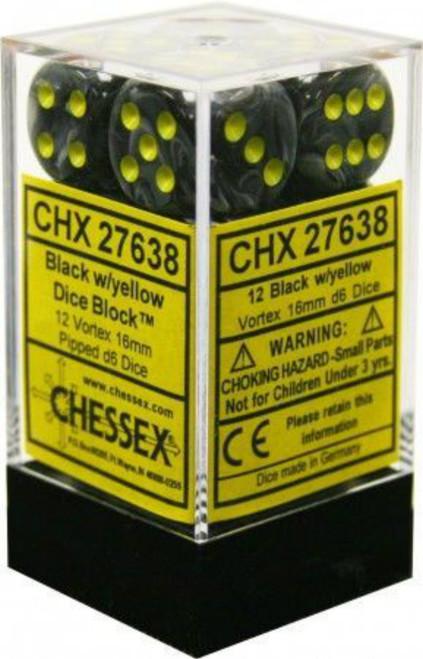 Chessex Vortex Black w/Yellow Set of 12 d6 16mm Dice (CHX27638)