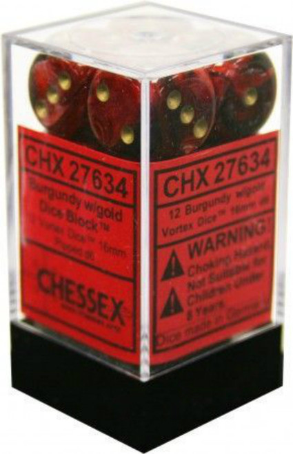 Chessex Vortex Burgundy w/Gold Set of 12 d6 16mm Dice (CHX27634)