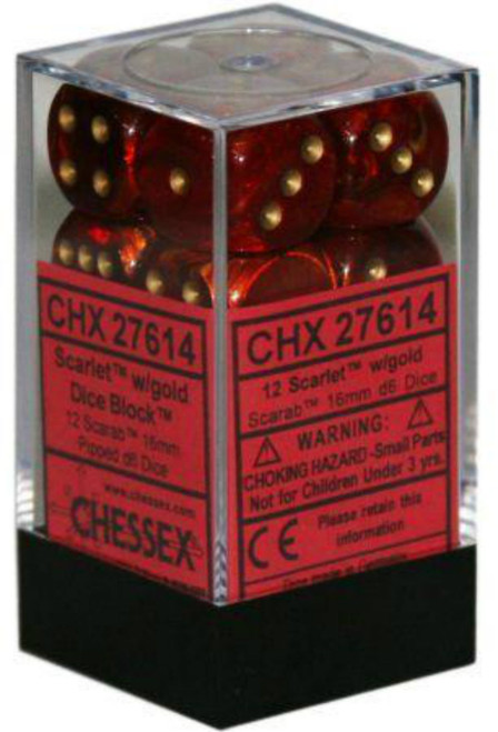 Chessex Scarab Scarlet/Gold Set of 12 d6 16mm Dice (CHX27614)