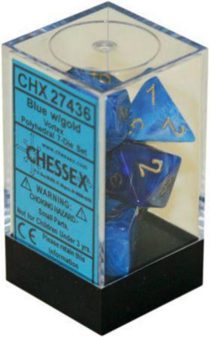 Chessex Vortex Blue w/Gold Set of 7 Dice (CHX27436)