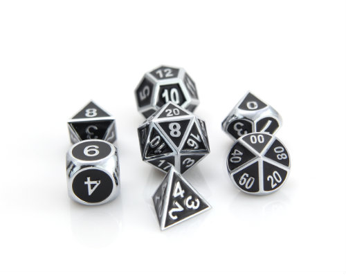Die Hard Dice: RPG Gothica Set: Shiny Silver w/ Black
