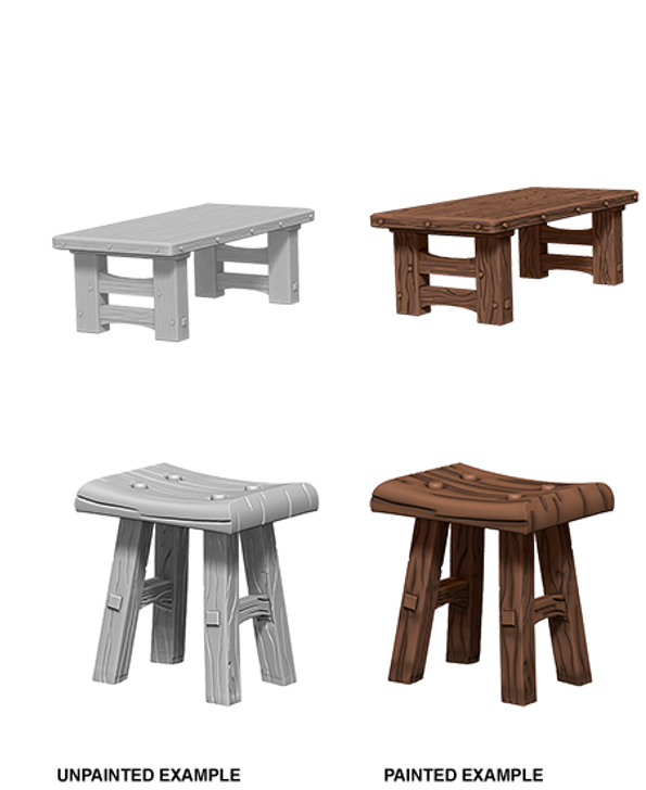 WizKids Deep Cuts Unpainted Miniatures: Wooden Table & Stools (Wave 4)