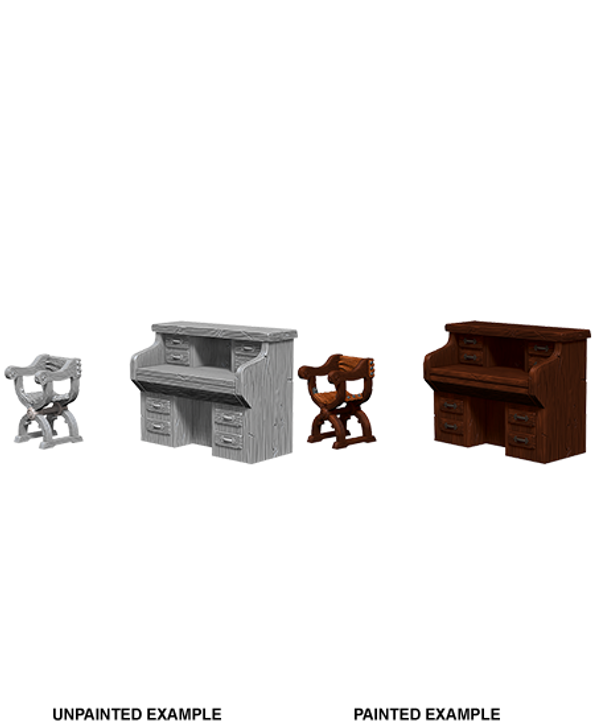 WizKids Deep Cuts Unpainted Miniatures: Desk & Chair (Wave 5)