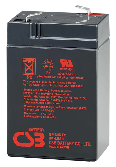 CSB GP645 Battery - 6V 4.5AH