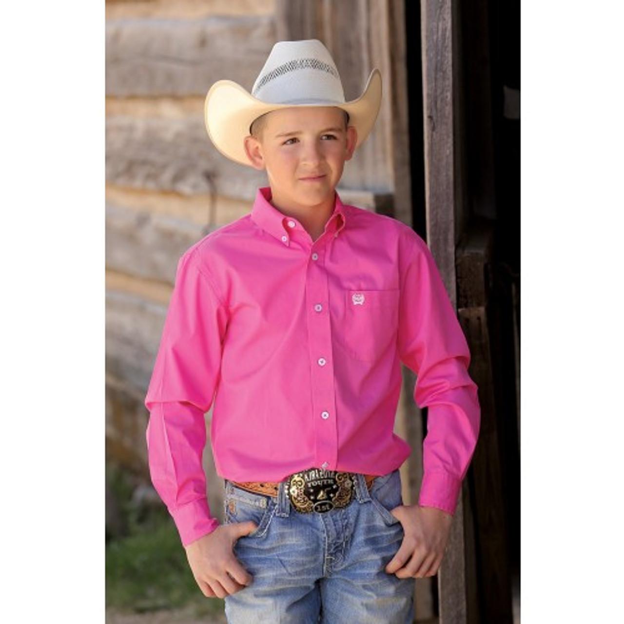 35cfef6958 Cinch Boy's Shirts -Dark Pink Solid Twill Button Down